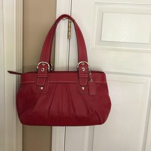 Coach Red soho Pleated Leather Large Shoulder Bag